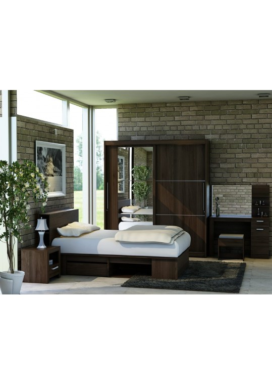 Monaco Bed Room Set Brown Wallnut